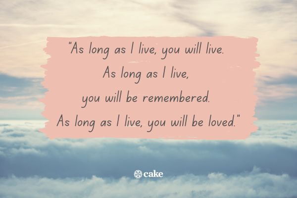 Example of how to say 'in loving memory' of a spouse or partner with an image of the sky and clouds in the background