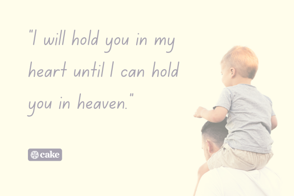 Example of how to say 'in loving memory' of your child with an image of an adult carrying a child on their shoulders