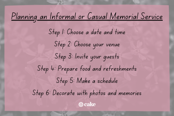 Steps for planning an informal or casual memorial service with an image of flowers in the background