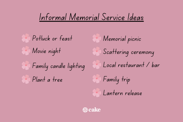List of ideas for an informal memorial service with images of flowers