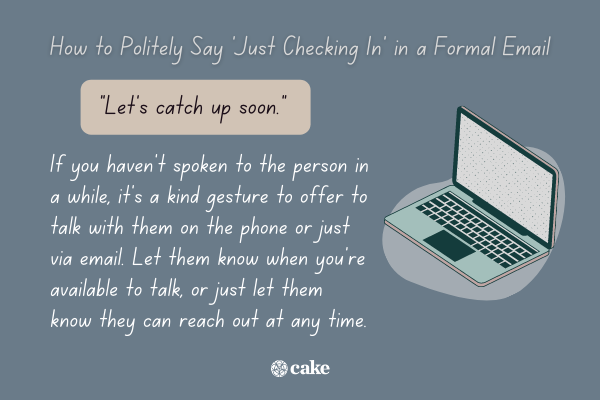 """Example of how to politely say """"just checking in"""" in an email with an image of a laptop"""