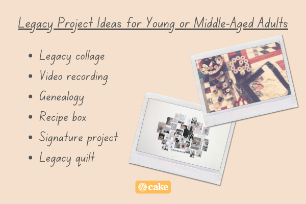 List of legacy project ideas for young or middle-aged adults with images of art supplies
