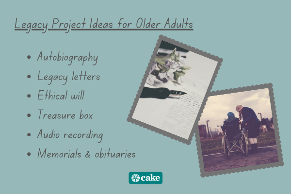 List of legacy projects for older adults with images of people talking and paper and pen