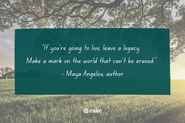 Quote about leaving a legacy with an image of a field a trees in the background