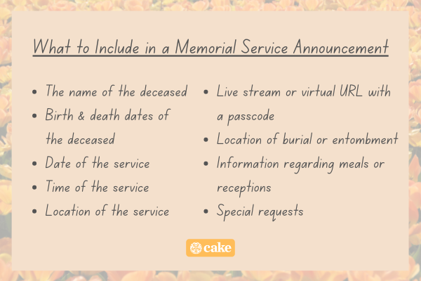 List of things to include in a memorial service announcement