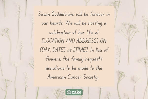 Example of a memorial service announcement for social media