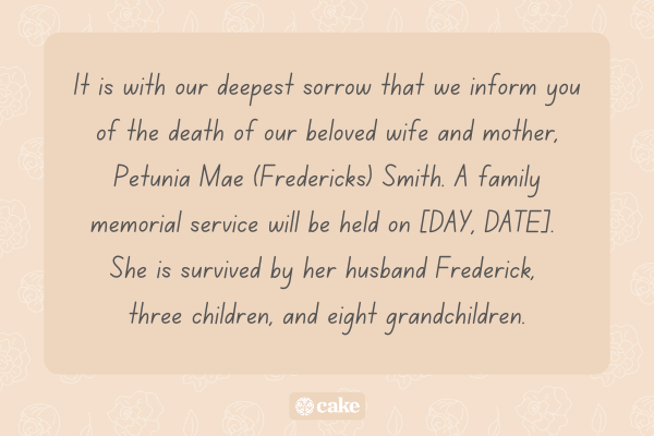 Example of a memorial announcement for a physical invitation