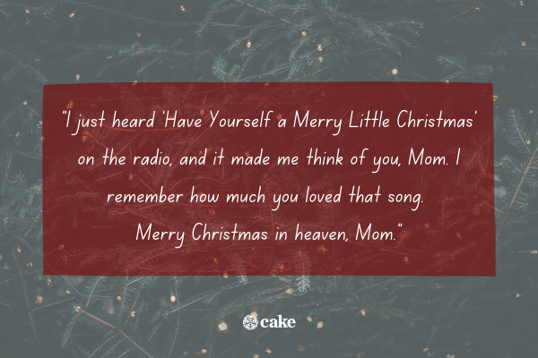 Example of how to say 'merry christmas in heaven, mom' with an image of a christmas tree in the background