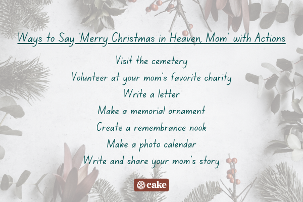 List of ways to say 'merry christmas in heaven, mom' with actions surrounded by images of leaves