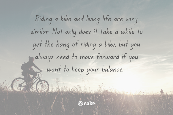 Quote about life over an image of a person riding a bike