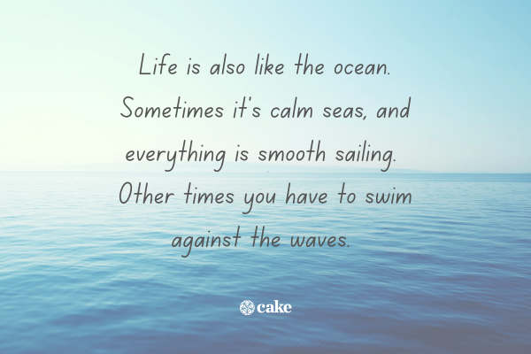Quote about life over an image of the ocean