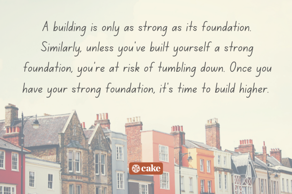 Quote about life over an image of buildings