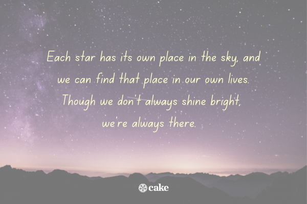 Quote about life over an image of the night sky and stars