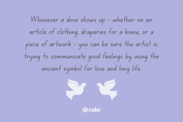 Fact about what a dove symbolizes with an image of two doves