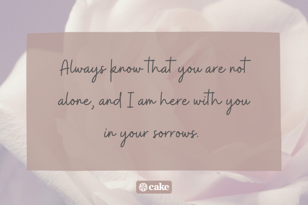Sympathy quote over an image of a flower
