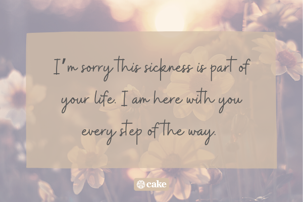 Sympathy quote over an image of flowers