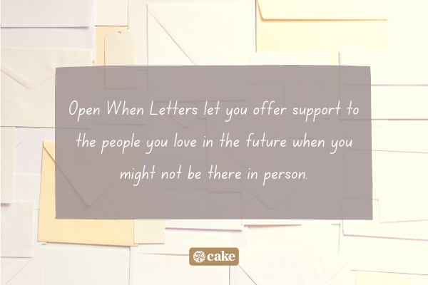 Text of what an Open When Letter is with an image of envelopes in the background