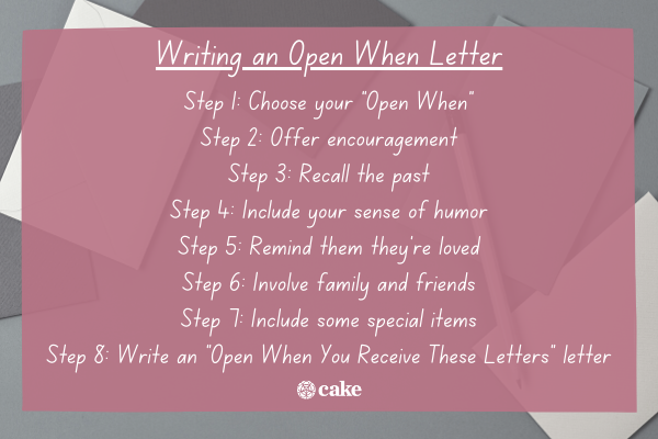 Steps to write an Open When Letter with an image of papers and envelopes in the background