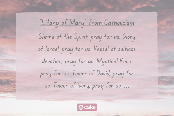 """""""Litany of Mary"""" prayer with an image of the sky and clouds in the background"""
