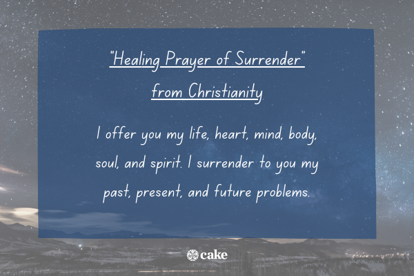"""""""Healing Prayer of Surrender"""" with an image of the night sky and stars in the background"""