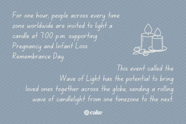 Text about the Pregnancy and Infant Loss Awareness Walk with an image of a candle