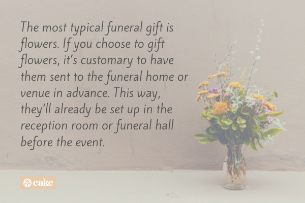 Text over an image of flowers in a vase
