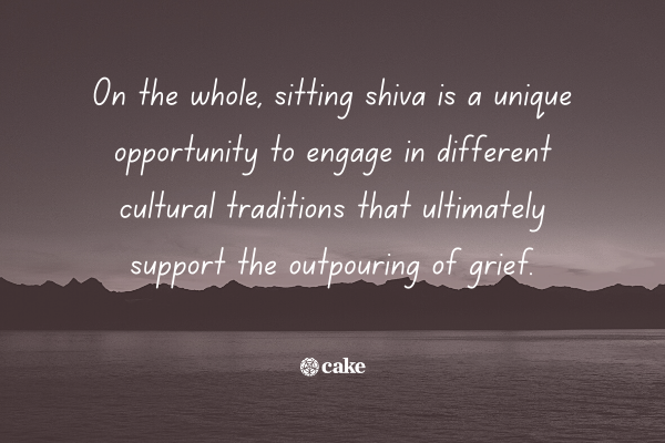 Text about sitting shiva with an image of the sky and mountains in the background