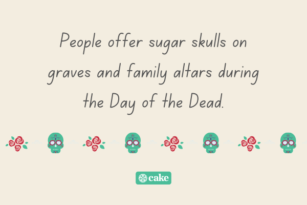 Information about sugar skulls with images of flowers and skulls
