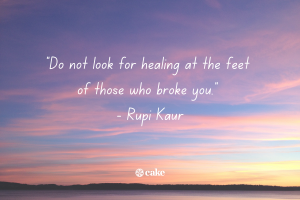 Example of a quote about surviving abuse with an image of the sky in the background