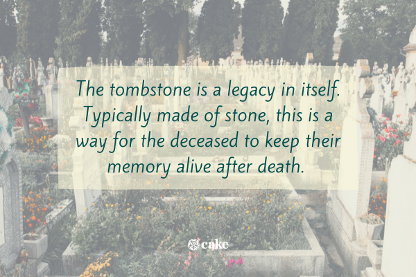 Text over an image of a cemetery and tombstones