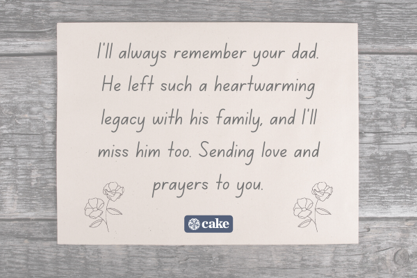 Example of a sympathy message for a relative who lost a father over an image of a card and flowers