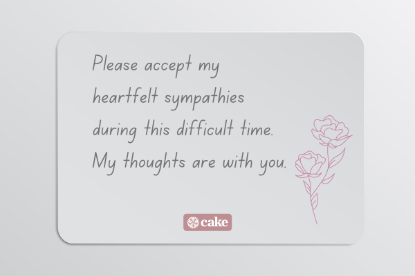 Example of a sympathy message for a coworker over an image of a card an flower