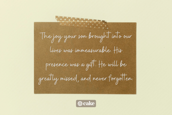 Sympathy message on a notecard