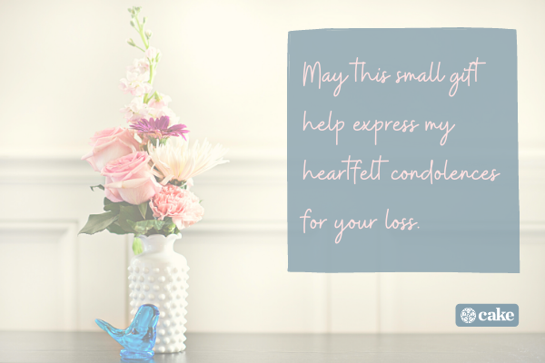 Sympathy note over an image of flowers in a vase
