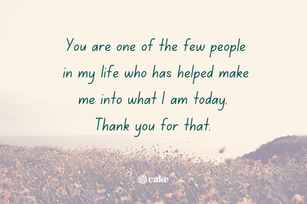 Example of a thank you message for friends with an image of a field of flowers in the background