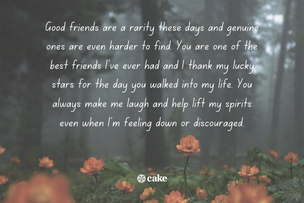 Example of a hank you letter to a friend with an image of flowers and trees in the background