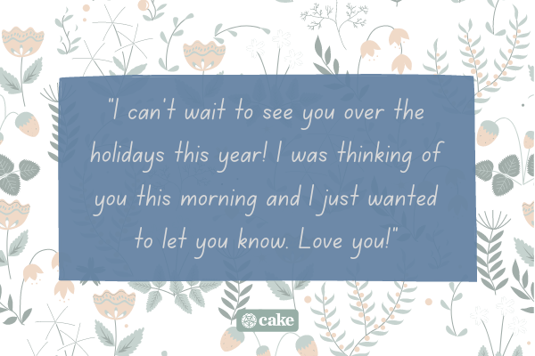 Thinking of you message with flowers in the background