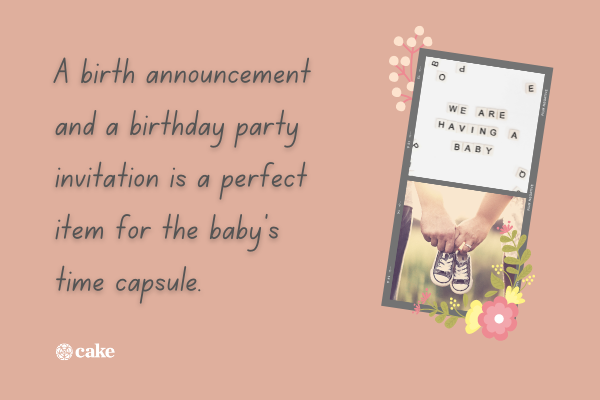 Text with pictures of a birth announcement