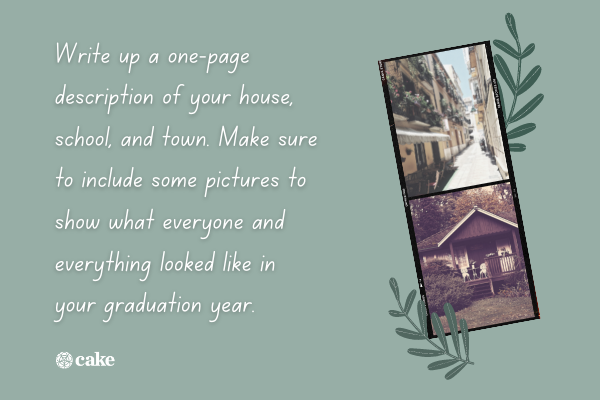 Text with pictures of a town and a house