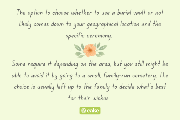 Text about choosing a burial vault with an image of a flower and leaves