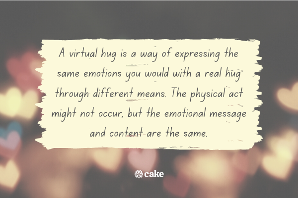 Definition of a virtual hug with an image of hearts in the background