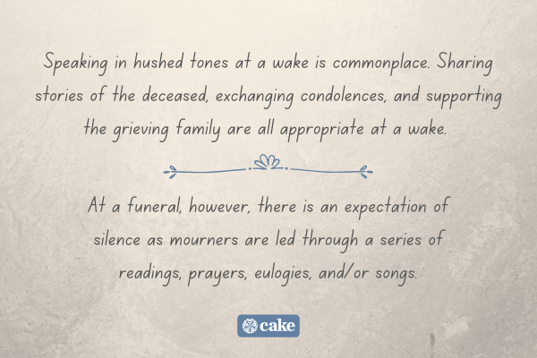 Text describing a difference between a wake and funeral