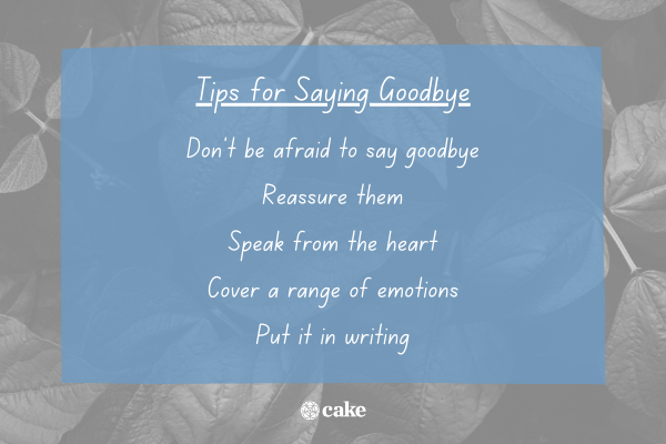 Tips on how to say goodbye with an image of leaves in the background