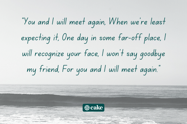 Example of a heartfelt way to say goodbye with an image of the ocean in the background