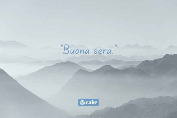 Example of how to say goodbye in another language with an image of mountains in the background