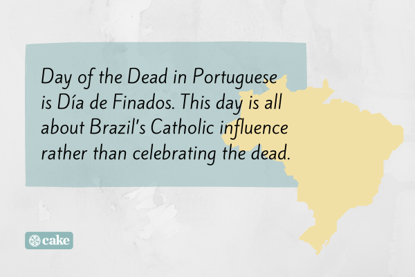 Text about day of the dead celebrations in Brazil with an image outline of the country