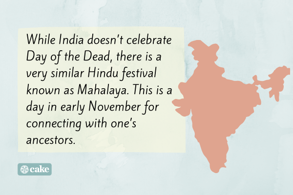 Text of day of the dead celebrations in India with an image outline of the country