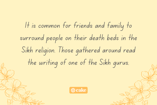 Text about visitations in the Sikh religion with images of flowers