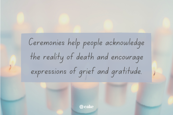 Text about memorial services with an image of candles in the background