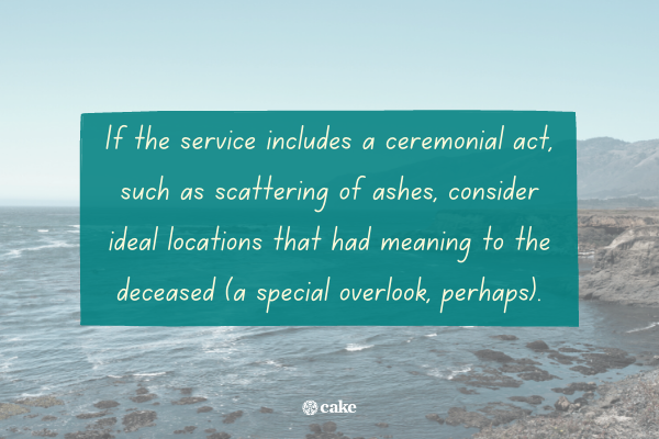 Text about where you can have a memorial service with an image of the ocean in the background